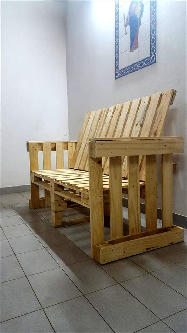 Pallet Bench with Arms | 99 Pallets