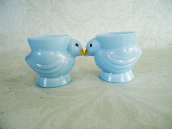 Vintage Blue Milk Glass Eggcups by Opalex