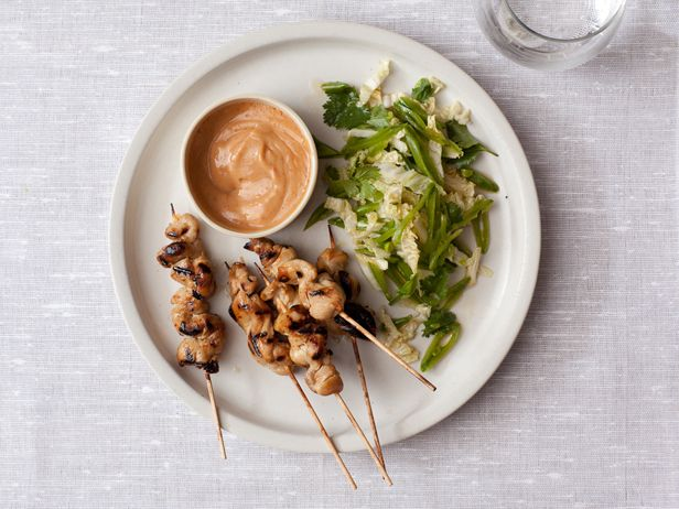 Chicken Satay with Spicy Peanut SauceFood Network, Peanuts, Peanut Sauces Recipe, Foodnetwork Com, Sauce Recipes, Network Kitchens, Chicken Satay, Spicy Peanut Sauces, Peanut Butter