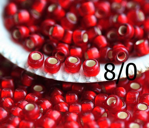 8/0 Toho Seed Beads N 25CF Silver Lined Frosted Ruby 10g