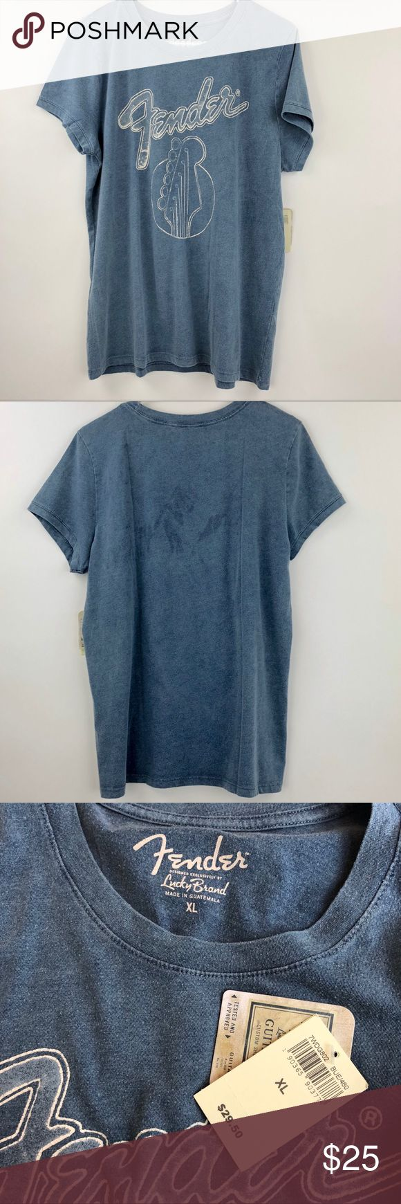 """Lucky Brand Fender Guitar Graphic Tee Size XL Lucky Brand Fender Guitar Graphic T Shirt Womens Size XL  Pit to Pit: 19""""  Length: 27""""  Condition: New with tags. Lucky Brand Tops Tees - Short Sleeve"""