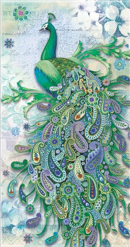 These wonderful 3-ply guest towels feature the full-color image of a peacock with a paisley tail. The shades of blue and green are sure to enchant your guests! The towels come 16 to a pack.