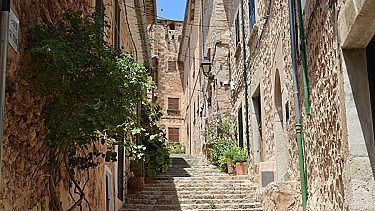 stone houses and steps in a village in mallorca