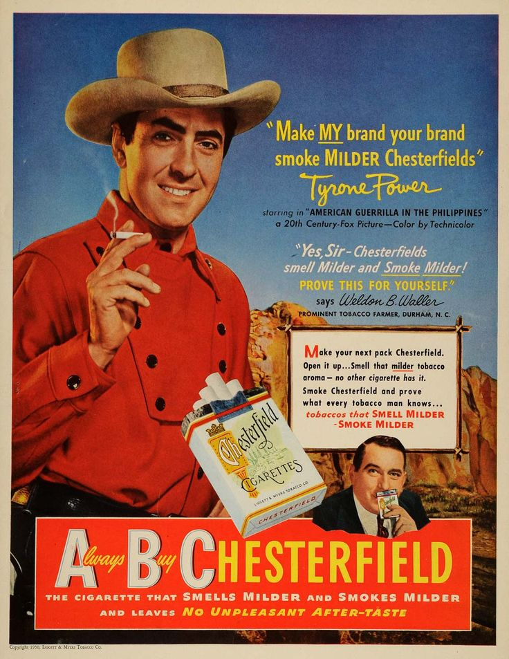 1950 Ad ABC Chesterfield Cigarettes Tyrone Power Color 20th Century Fox LF3