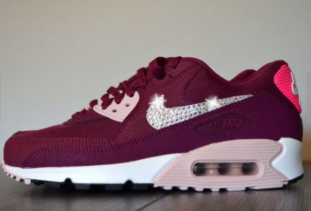 Bling Women's Nike Air Max 90 Running Essential Athletic Shoes Customized w  Clear Swarovski Crystal Rhinestone Elements Maroon Pink & White | Pinterest  ...