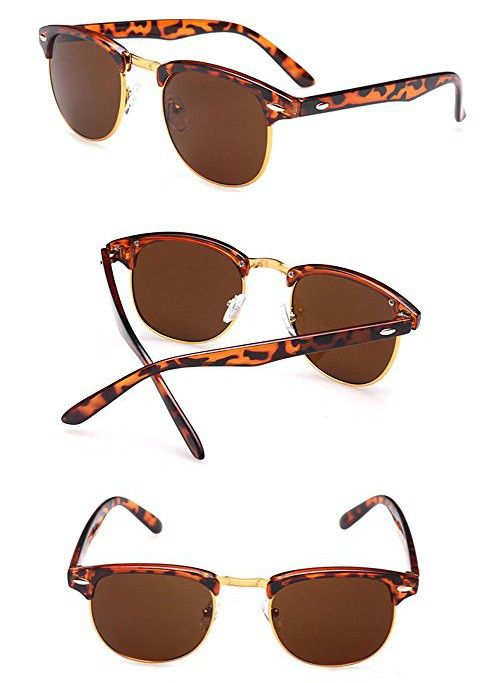 ae35b71f74 Outray Vintage Half Frame Horn Rimmed With Metal Rivets Sunglasses 2142a3  Leopard Print