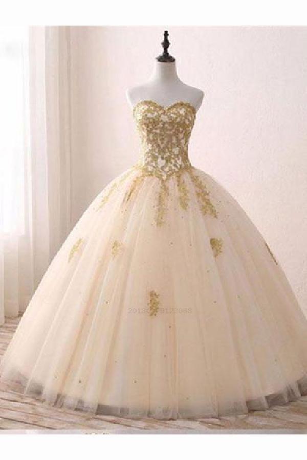 Fetching A-Line Prom Dresses A-line Princess Sweetheart Neck Strapless Prom Dresses, Appliqued Floor Length Wedding Dresses