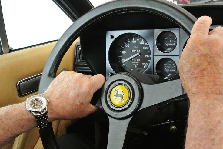 Amoureux des belles mécaniques je n'ai pas hésité à photographier ma dernière acquisition l'ORIS Skeleton au volant de ma Ferrari 12 cylindres de 1984, ma montre comme ma voiture laissent facilement voir son mécanisme et son moteur dans le détail, contrairement aux montres à quartz et aux  véhicules modernes et c'est un régal pour les yeux ! - Jean Giudicissi, New Caledonia.