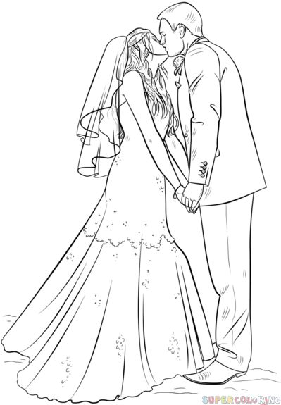 How to draw a bride and groom step by step Drawing