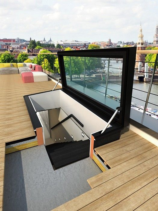 Nice solution to make a empty flat roof into a usable extra outdoor space or a green garden or solar energy plant or whatever.Staka Bouwproducten B.V. (Product) - TopLight Dakluiken met glas - architectenweb.nl