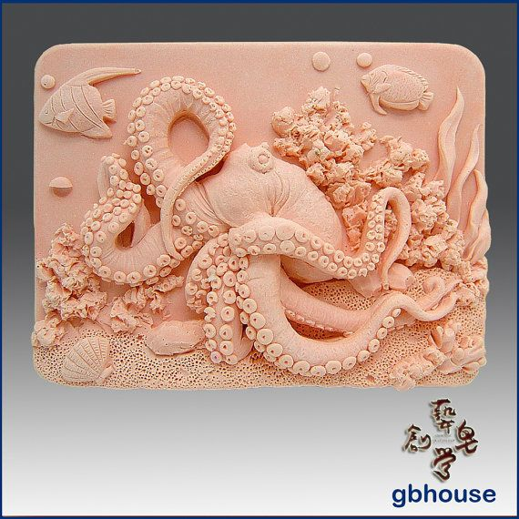 2D Silicone Soap Mold  Octopus on Coral Reef  free by egbhouse, $35.00