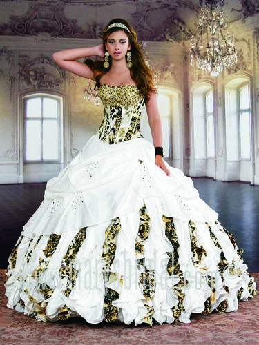 Taffeta ball gown with sweep train, lace-up back, strapless sweetheart neckline, basque waistline, bodice features rhinestones and sequins, animal print . Jacket included. White/Multi