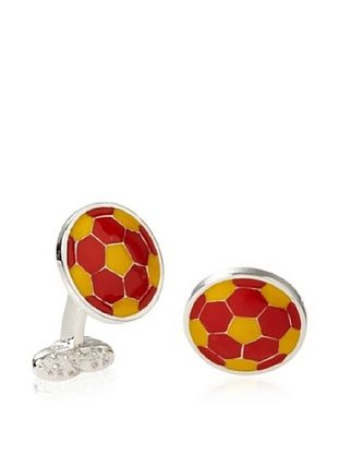 Tateossian Yellow Orange Football Cufflinks