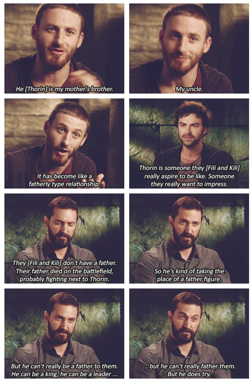 The actors who played Kili, Fili, and Thorin talk about the relationship of the three dwarves. The imbalance of head hair to their beard hair is totally throwing me off, but I'm assuming it's to accomodate their massive Dwarvish wigs and such.