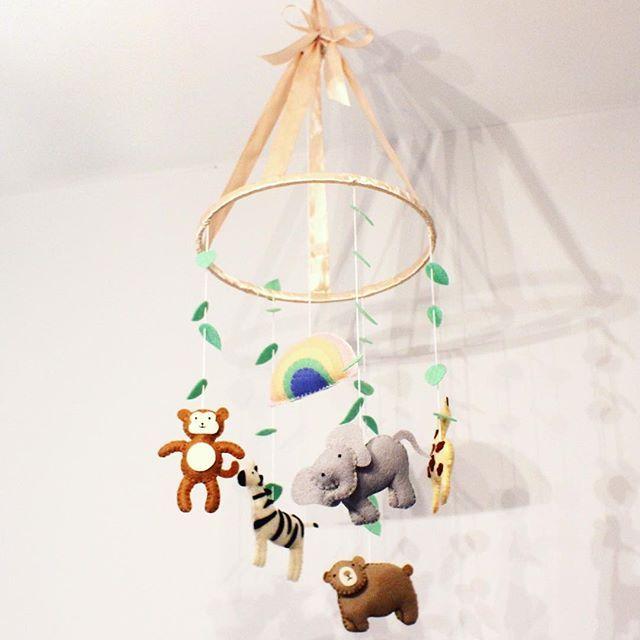 Handmade Felt Baby Mobile   Pastel Safari Animals by Kateskraft