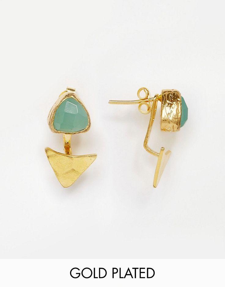 Ottoman+Hands+Aqua+Chalcedony+Triangle+Earrings