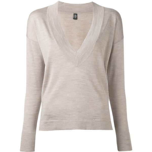 Eleventy v-neck jumper (15.775 RUB) ❤ liked on Polyvore featuring tops, sweaters, nude, v neck sweater, v-neck jumper, pink jumper, v-neck tops and jumper top