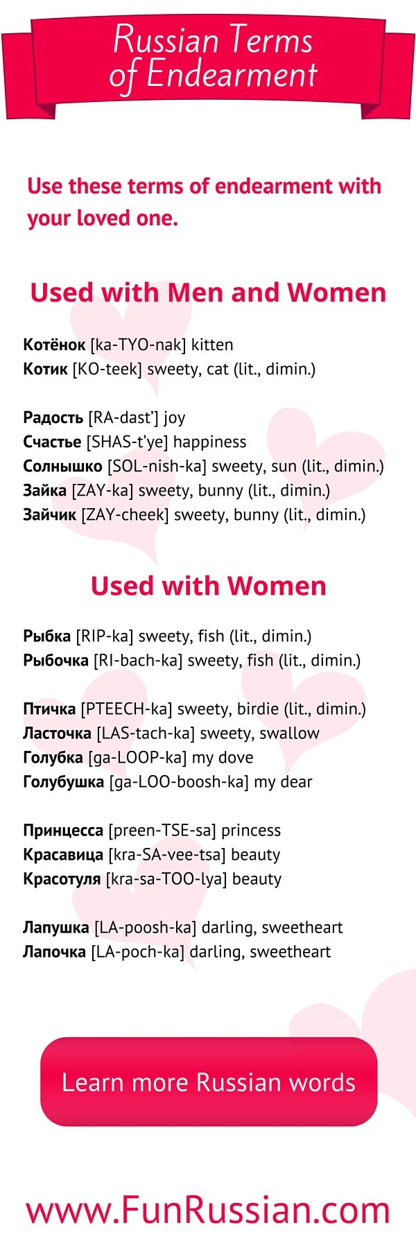 Affectionate Russian Phrases: Tender words in Russian