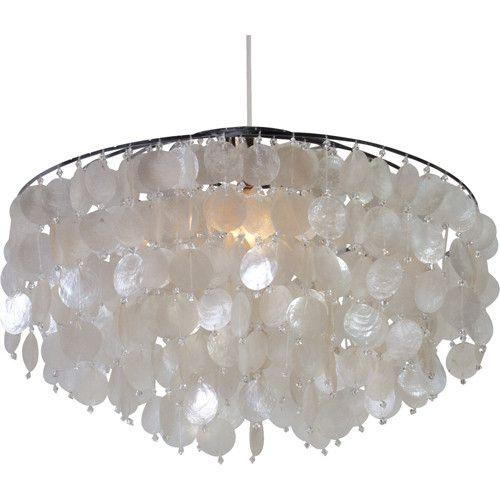 capize lamp | Beaded Capiz Shell Chandelier