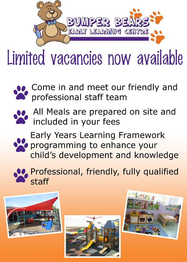 Drop in to the centre today to see what vacancies we have available for you and your child