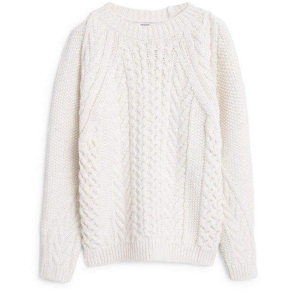 MANGO Chunky-Knit Sweater found on Polyvore featuring tops, sweaters, jumpers, long sleeves, long sleeve sweaters, thick sweater, white jumper, chunky cable knit sweater and round top