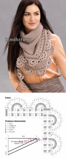 Теплый треугольный платок с красивой каймой. Вязание спицами и крючком