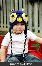 "I've been seeing owl hats lately. Too cute! This one is a bit different, but they are all different... I can't wait to make one! Some that I've seen have just the big circles for the eyes and then embroidered ""closed"" eyes. Others have buttons down on instead of the yellow and/or black that this one has. Some have triangle shaped beaks, others are crooked and off-set. All are fun!"