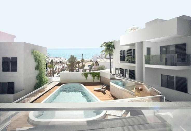 Starting 137.000 €. Residential area of apartments beachfront of La Mata - Torrevieja (Costa Blanca), consisting of homes with 1 or 2 bedrooms. You can choose ground floor apartments with garden or top floor with solarium. Several of the lower floors also have basement. All apartments include parking in the price and are geared towards the beach. This gated community is located in one of the most exclusive areas of the Costa Blanca and has a community pool in the central area.