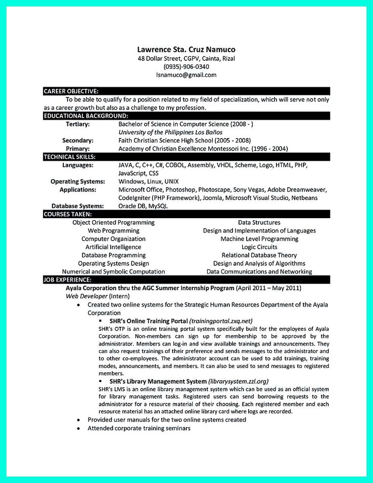 cool The Best Computer Science Resume Sample Collection, Check more at http://snefci.org/best-computer-science-resume-sample-collection