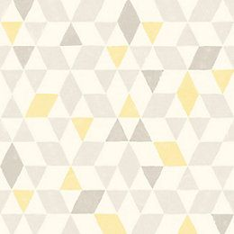 Scandi Triangles Lemon Geometric Wallpaper | Departments | DIY at B&Q
