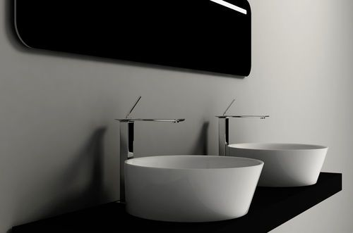 Countertop washbasin / oval / porcelain / contemporary SOUL 1 VALDAMA