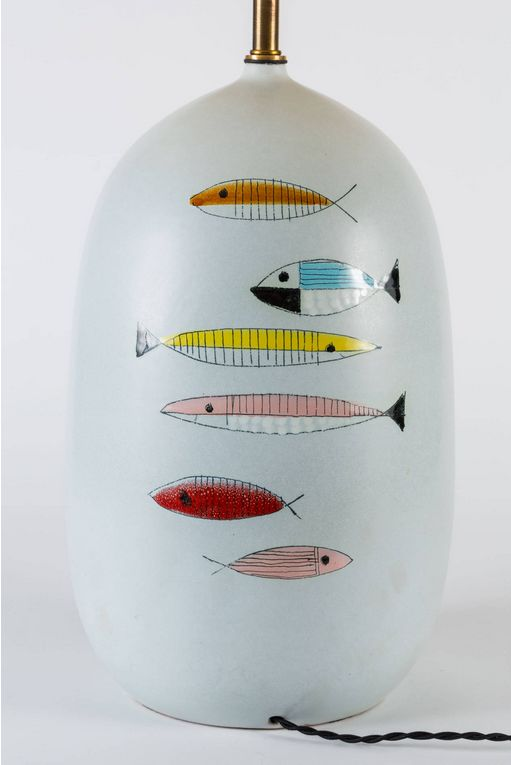 Anonymous; Glazed Ceramic Table Lamp by Raymor, 1950s.