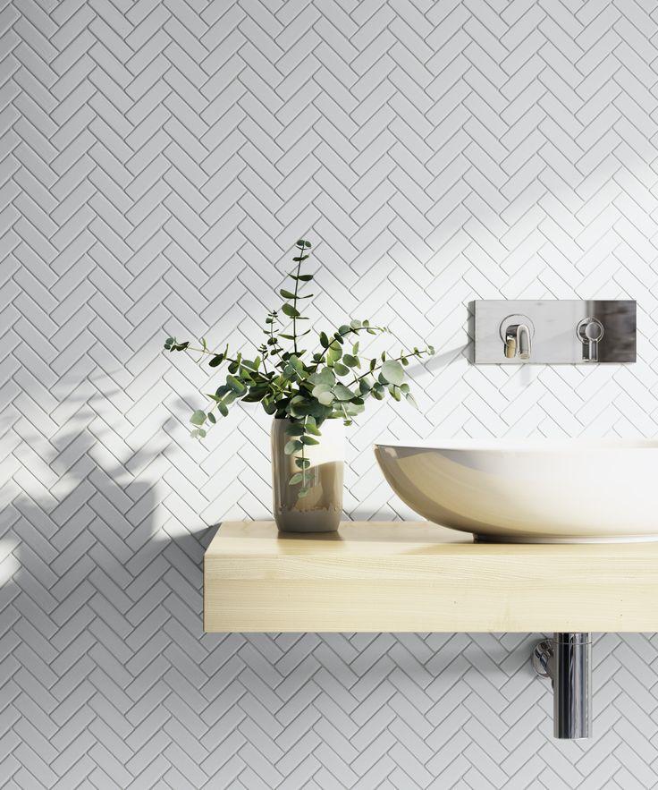 Wellington Herringbone Gloss Mosaic White Tile | TileCloud Bathrooms | Available @ tilecloud.com