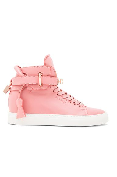 Image 1 of Buscemi Alta High Top Leather Sneakers in Coral