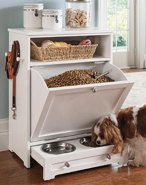 Enjoy the convenience of food, leash, and toy storage, plus a feeding station, all in one stylish, compact space with a Pet Feeder Station.