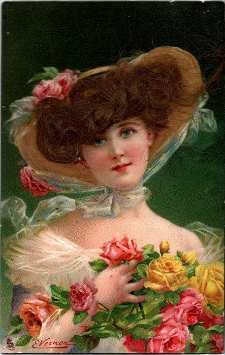 "Early 1900s British postcard w/ sender's souvenir lock-of-hair/ Tuck Connoisseur series #2818- /reproduces painting titled ""Phillis""by Vernon"