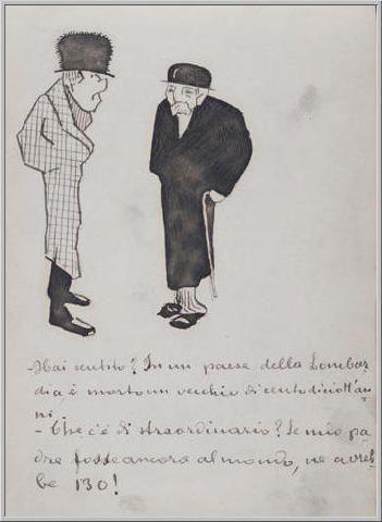 Mario Tozzi 1912: Due Anziani. Disegno matita e inchiostro - cm.(11x17) - Collezione eredi Brunetti-Laderchi Bologna - Archivio n.407.