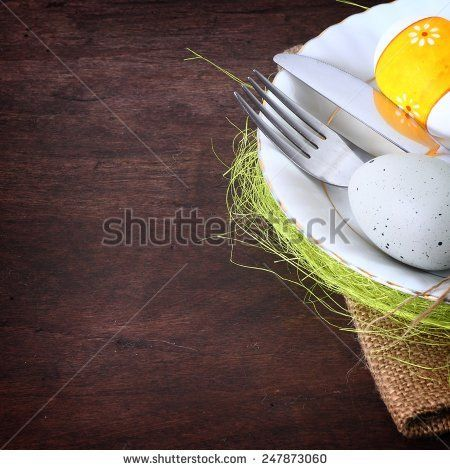 seasonal wooden easter table with cutlery