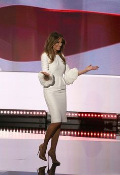 Melania Trump at the Republican National Convention in Cleveland, Ohio wearing a white puffy sleeved dress by Roksanda.