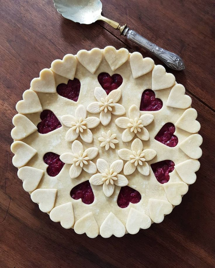 Hearts and flowers cherry pie