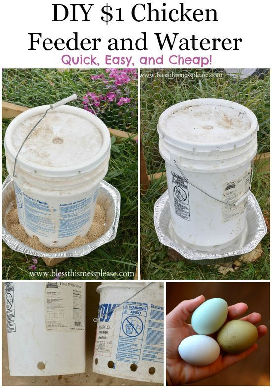 DIY chicken water and feeder from 5-gallon buckets Only $1 EACH!! The ones at the feed store this size are 50-60 | http://handmade27.blogspot.com