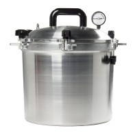 Built to last through years of use, this pressure cooker and canner can hold 7 quart jars or 19 pint jars.  The 921 All-American Pressure Cooker and Canner has a 21.5-Quart liquid capacity. Has an exclusive metal-to-metal seal - no gaskets to crack, burn, replace or clean. Automatic over-pressure release. The 921 All-American Pressure Cooker and Canner has double-thickness edges for additional protection on points of heaviest wear. $225
