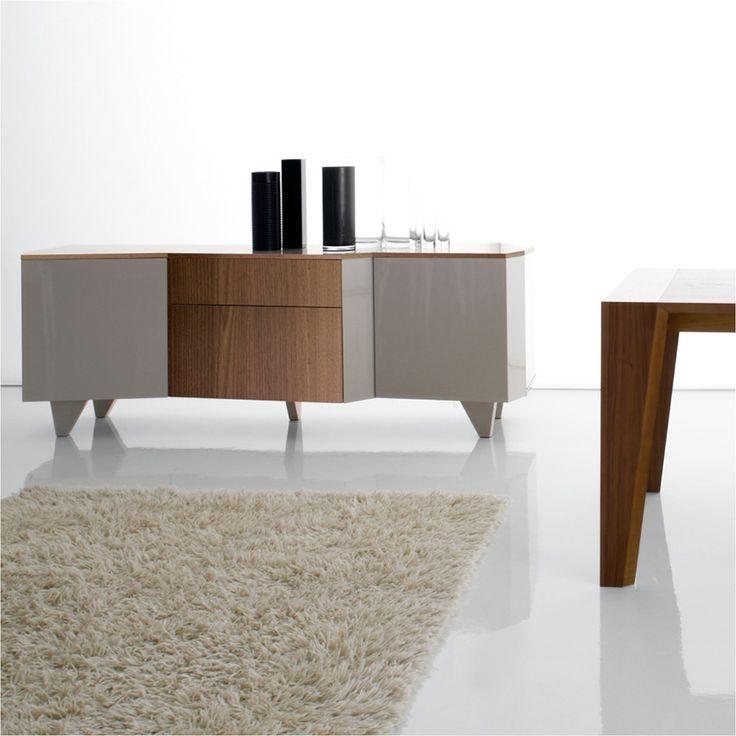 Madia design moderno a 2 ante ripiano e cassetto in noce, ripiani in vetro Samsa. By Viadurini Collezione Living. [www.viadurini.it]