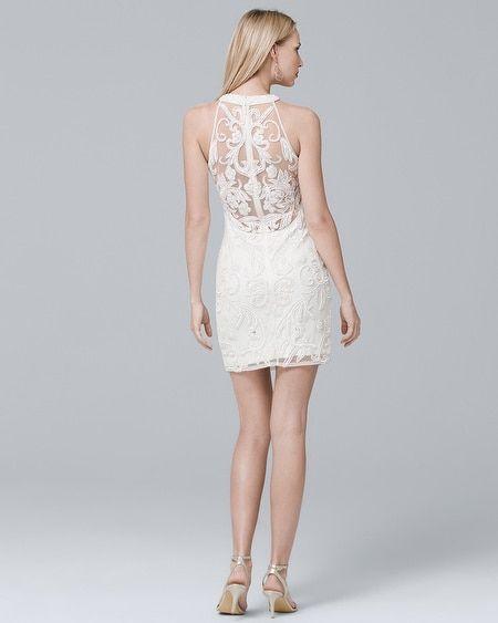 345760b0 Women's Parker Black Sleeveless White Beaded Sheath Dress by White House  Black Market