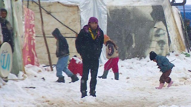 BBC News - Syrian refugees in Lebanon face freezing winter tents Thousands of Syrian refugees are spending their fourth winter in tents in Lebanon as heavy snow continues to fall in the area. The BBC's Paul Would reports from a camp in Bekaa Valley, east Lebanon. http://bbc.in/1tNfUud #The case for humanity & the lack thereof