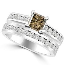 Princess Champagne Brown Diamond Engagement Ring Set