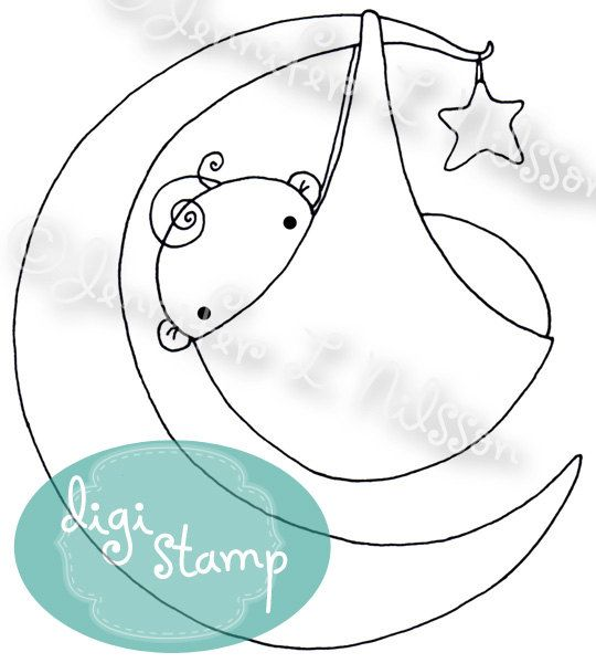 Digital Stamp - Moon Baby - digistamp JPG and PNG