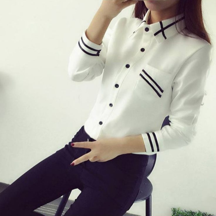 Women Blouses Autumn Long Sleeve Sequin Chiffon Ladies Office Shirt White Blue Tops