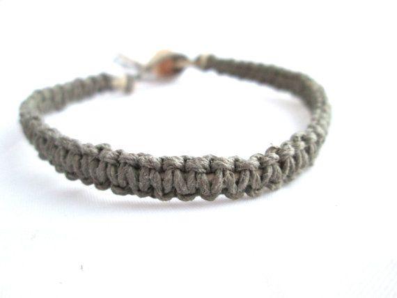 Macrame Bracelet Grey Hemp Bracelet Square Knot Simple ...