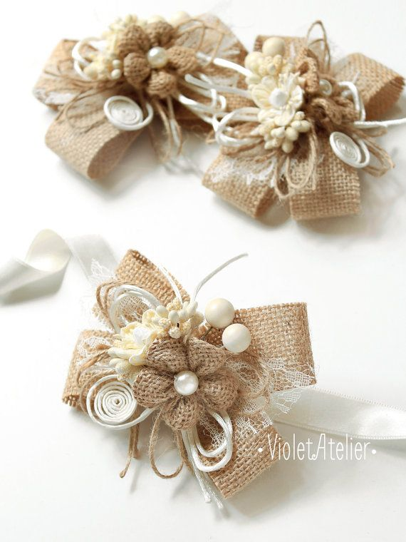 2 Burlap Flower Bridesmaid Corsages, Set of 2 Burlap Lace Twine Bracelets, Rustic Wedding Mother Girl Wrist Bridesmaid Flower Bracelets